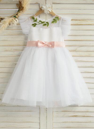 A-Line Knee-length Flower Girl Dress - Satin/Tulle Sleeveless Scoop Neck With Ruffles/Sash (Detachable sash)