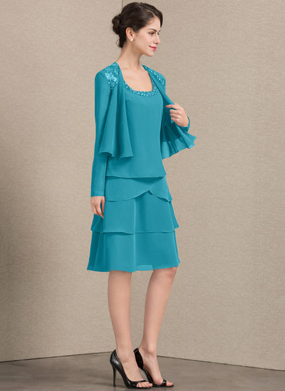 A-Line Square Neckline Knee-Length Chiffon Mother of the Bride Dress With Beading Sequins