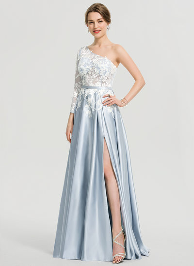A-Line One-Shoulder Floor-Length Satin Prom Dresses With Split Front