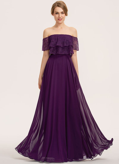 A-Line Off-the-Shoulder Floor-Length Chiffon Lace Bridesmaid Dress With Cascading Ruffles