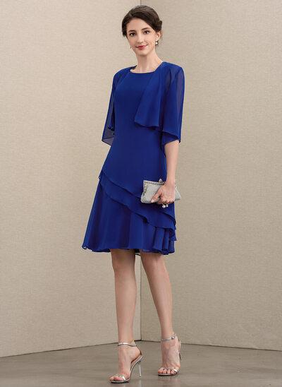 A-Linie U-Ausschnitt Knielang Chiffon Kleid für die Brautmutter mit Gestufte Rüschen