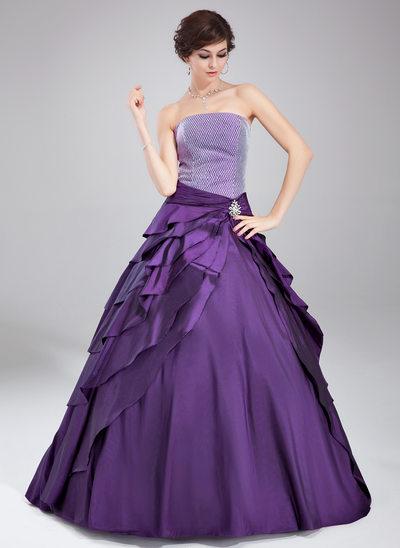 De baile Sem Alças Longos Tafetá Vestido quinceanera com Pino flor crystal Babados em cascata