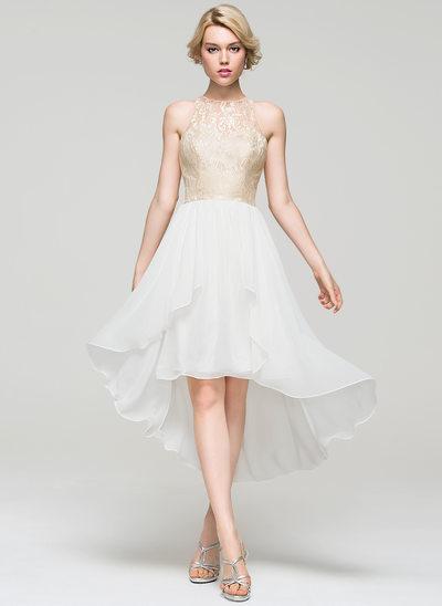 Vestidos princesa/ Formato A Decote redondo Assimétrico tecido de seda Vestido de boas vindas com Babados em cascata