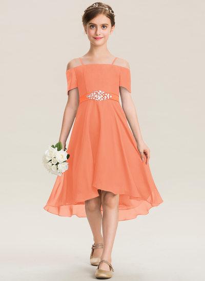 Corte A Off-the-ombro Assimétrico Tecido de seda Vestido de daminha júnior com Beading Curvado