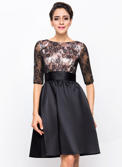 A-Line/Princess Scoop Neck Knee-Length Charmeuse Lace Cocktail Dress