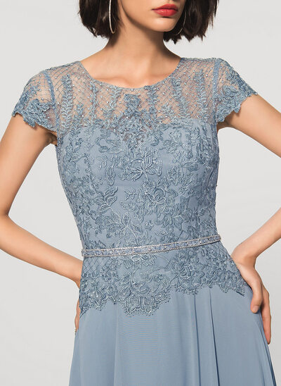 Corte A Decote redondo Longos Tecido de seda Renda Vestido de festa com Beading