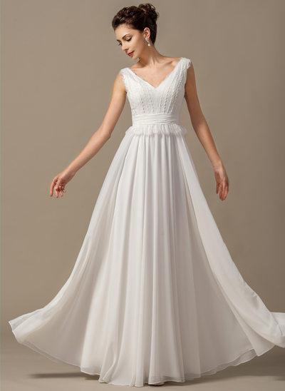 Vestidos princesa/ Formato A Decote V Longos Tecido de seda Vestido de noiva com Curvado Babados em cascata
