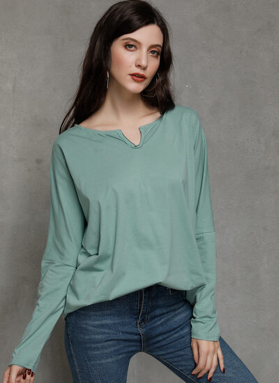 Solid Long Sleeves Cotton V Neck Knit Blouses