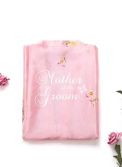 Personalizado charmeuse Novia Dama de honor Mamá Dama de honor junior Togas florales Batas Bordadas