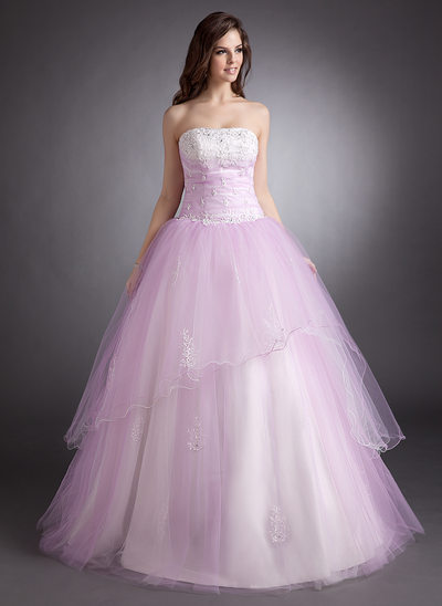 Ball-Gown Strapless Floor-Length Tulle Prom Dress With Beading Appliques Lace