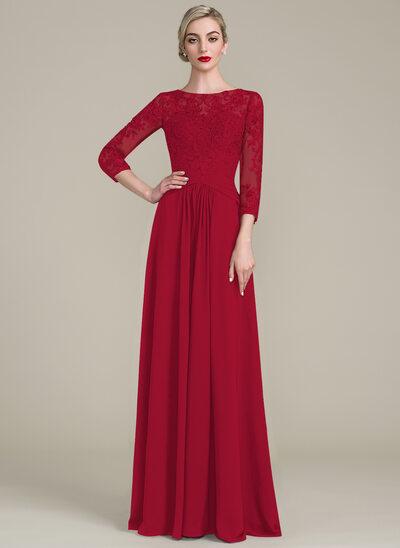 A-Linie U-Ausschnitt Bodenlang Chiffon Spitze Kleid für die Brautmutter mit Rüschen Perlstickerei Pailletten