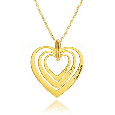 Personalisiert 18 Karat vergoldetes Silber Herz Gravur / Gravur Geschichtet Drei Herz Halskette Familienketten mit Kindernamen - Geburtstagsgeschenke Muttertagsgeschenke