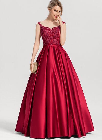 Corte de baile/Princesa Escote redondo Hasta el suelo Satén Vestido de baile de promoción con Lentejuelas
