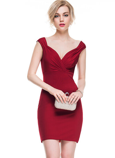 Платье-чехол возлюбленная Мини-платье Jersey Коктейльные Платье с Рябь