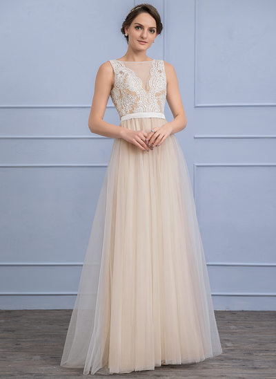 A-Line/Princess Scoop Neck Floor-Length Tulle Wedding Dress With Beading Sequins