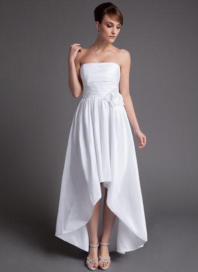 A-Line/Princess Strapless Asymmetrical Taffeta Wedding Dress With Ruffle Flower(s)