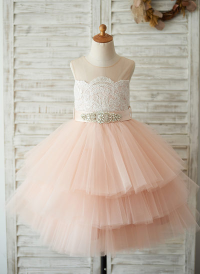A-Line/Princess Knee-length Flower Girl Dress - Satin/Tulle/Lace Sleeveless Scoop Neck With Sash/Beading (Detachable sash)