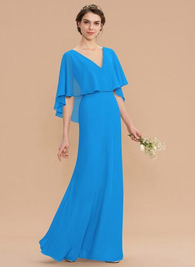 Corte A Decote V Longos Tecido de seda Vestido de madrinha