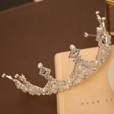 con La perla de faux/Diamantes de imitación Tiaras (Sold in a single piece)