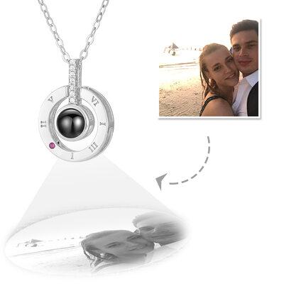 Gepersonaliseerde Sterling Zilver Cirkel Projectie Foto Ketting met Kubieke Zirkonia - Moederdag Cadeaus