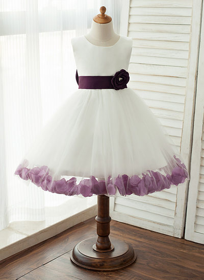 Princesový Po kolena Flower Girl Dress - Satén/Tyl Bez rukávů Scoop Neck S Šerpy/Luk