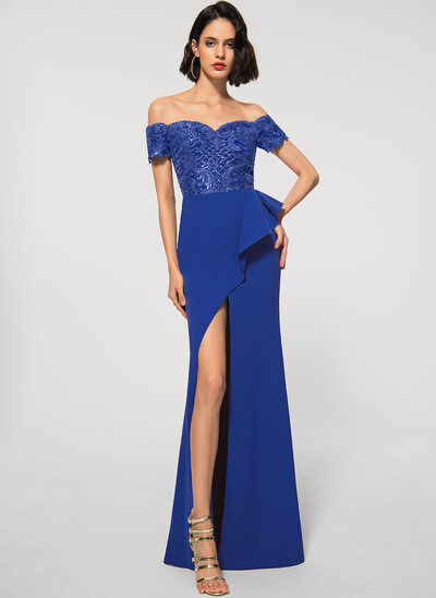 Sheath/Column Off-the-Shoulder Asymmetrical Lace Stretch Crepe Evening Dress With Sequins