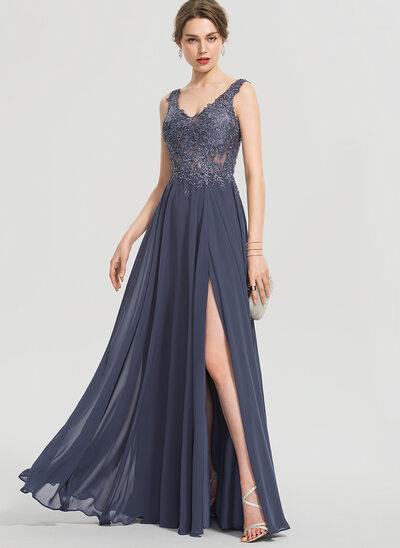 Corte A Decote V Longos Tecido de seda Vestido de baile com Beading Frente aberta