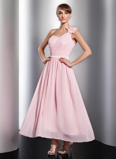 Forme Princesse Encolure asymétrique Longueur cheville Mousseline Robe de vacances avec Plissé Fleur(s)