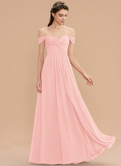 Corte A Off-the-ombro Longos Tecido de seda Vestido de madrinha com Pregueado