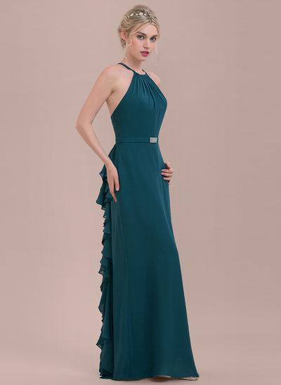 A-formet/Prinsesse Scoop Hals Gulvlengde Chiffong Brudepikekjole med Profilering Brusende Volanger