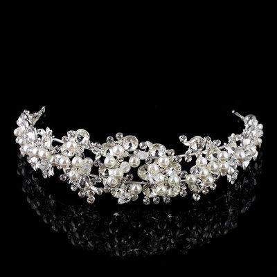 Gorgeous Rhinestone/Alloy/Imitation Pearls Tiaras With Rhinestone/Venetian Pearl (Sold in single piece)