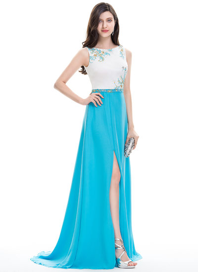 A-Line/Princess Scoop Neck Sweep Train Chiffon Evening Dress With Beading Sequins Split Front