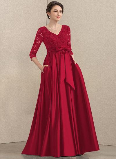 A-Linie V-Ausschnitt Bodenlang Satin Spitze Kleid für die Brautmutter mit Pailletten Schleife(n) Taschen