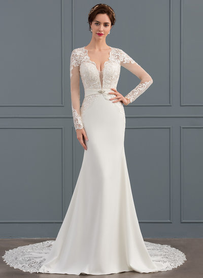 Trumpet/Mermaid V-neck Chapel Train Satin Wedding Dress With Beading