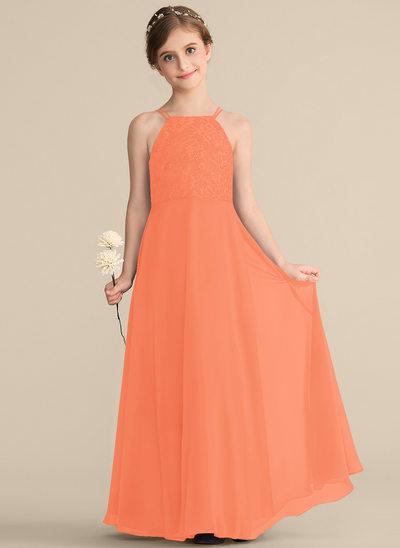 Vestidos princesa/ Formato A Decote quadrado Longos Tecido de seda Renda Vestido de daminha júnior