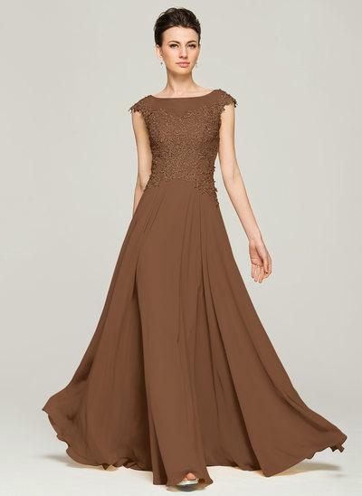 A-Linie/Princess-Linie U-Ausschnitt Bodenlang Chiffon Spitze Kleid für die Brautmutter mit Perlstickerei Pailletten