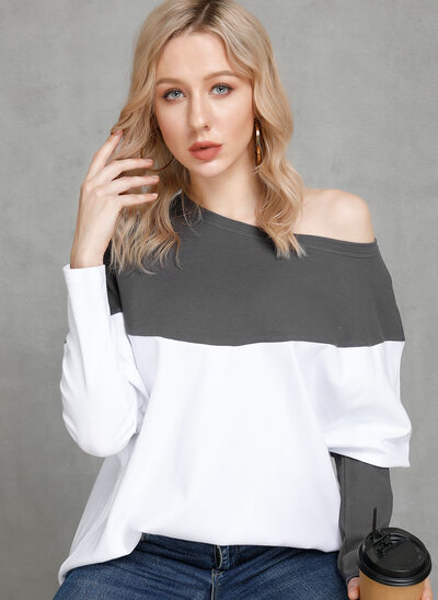 Color Block Long Sleeves Polyester One Shoulder Knit Blouses
