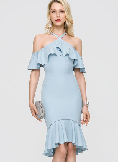 Trumpet/Mermaid V-neck Asymmetrical Stretch Crepe Homecoming Dress With Cascading Ruffles