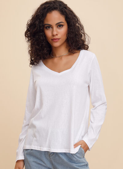 Solid Long Sleeves Polyester V Neck T-shirt Blouses