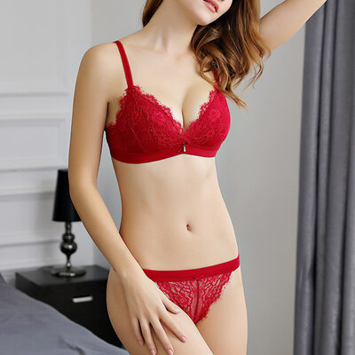 Romantic Chinlon Nylon Plunge Bra Sets