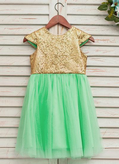 A-Line/Princess Knee-length Flower Girl Dress - Tulle/Sequined Sleeveless Scoop Neck