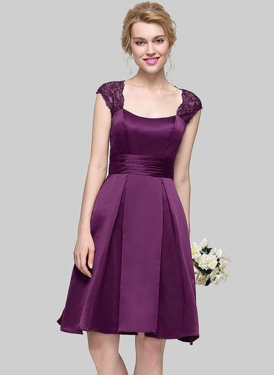 Forme Princesse Encolure carrée Longueur genou Satiné Robe de demoiselle d'honneur avec Plissé