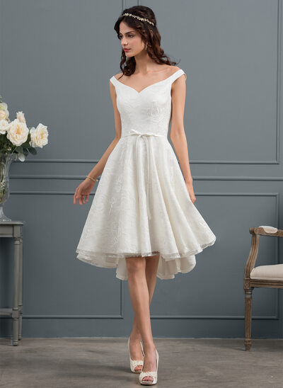 A-Line/Princess Off-the-Shoulder Asymmetrical Lace Wedding Dress With Bow(s)