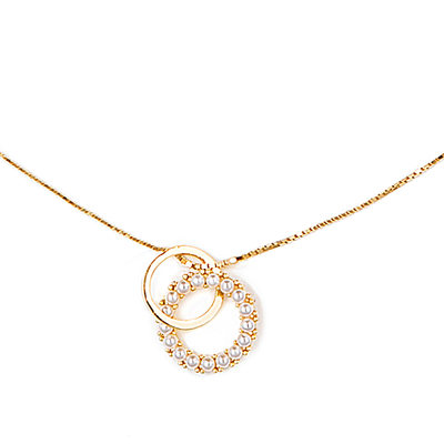 18k Gold Plated Silver Circle Double Discs & Circle - Valentines Gifts