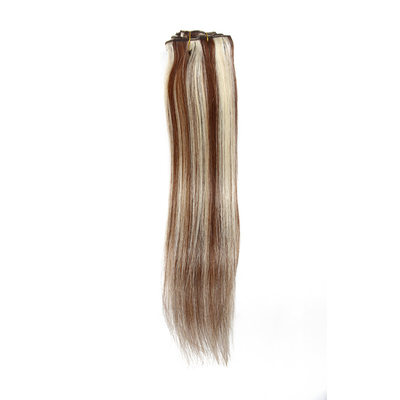 3A Straight Human Hair Clip in Hair Extensions 7pcs
