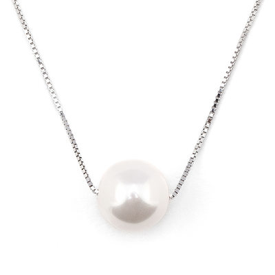 Christmas Gifts For Her - Silver Circle Pearl Pendant Necklace