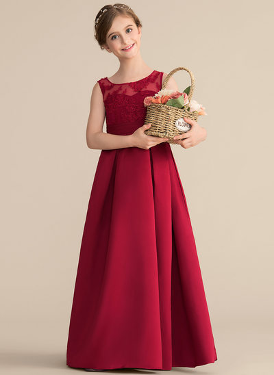 A-Line/Princess Scoop Neck Floor-Length Satin Lace Junior Bridesmaid Dress With Ruffle Bow(s)