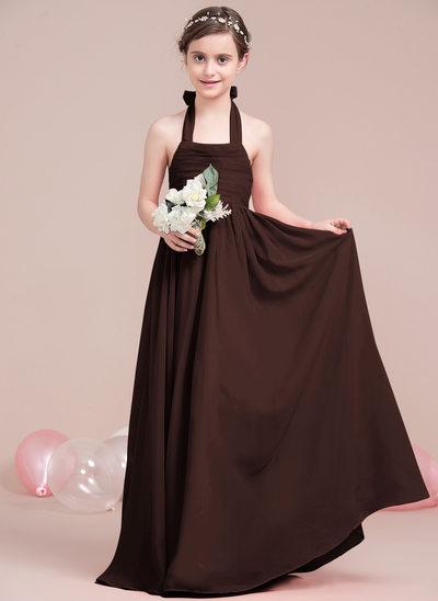 Vestidos princesa/ Formato A Cabresto Longos Tecido de seda Vestido de daminha júnior com Pregueado Curvado