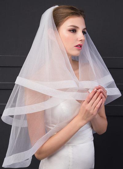 1 couche Bord en ruban Voile de mariée longueur bout des doigts