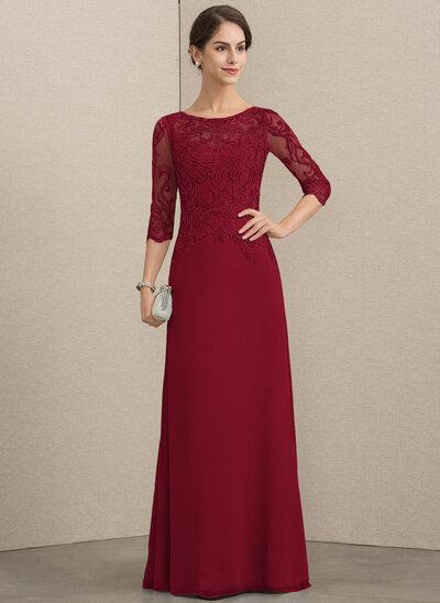 A-Linie/Princess-Linie U-Ausschnitt Bodenlang Chiffon Spitze Kleid für die Brautmutter mit Pailletten